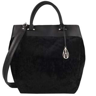 Amanda Wakeley Black Shearling Neeson Shopper Bag