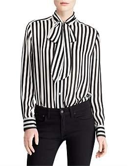 Polo Ralph Lauren Tie-Neck Striped Silk Blouse