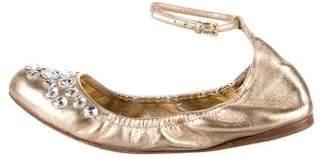 Miu Miu Leather Embellished Flats