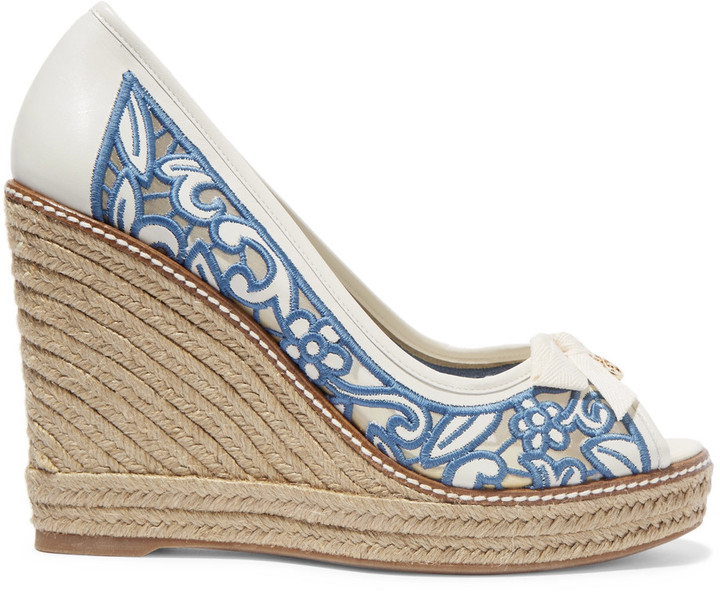 Tory Burch Tory Burch Lucia embroidered mesh and leather wedge espadrilles