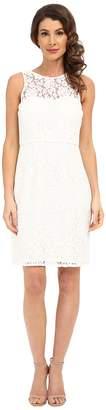 Donna Morgan Harlow Illusion Neck Lace Short Dress Women's Dress
