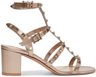 Valentino Garavani The Rockstud Leather Sandals - Gold