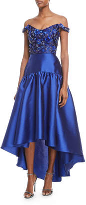 Marchesa High-Low Mikado Gown w/ Bead Embroidered Bodice
