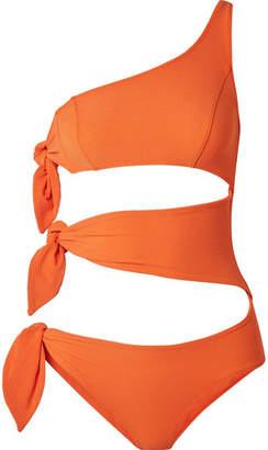 Lisa Marie Fernandez Bianca One-shoulder Cutout Stretch-crepe Swimsuit - Orange