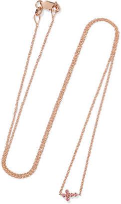 Ileana Makri Mini Cross 18-karat Rose Gold Sapphire Necklace