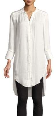 Halston H High-Low Buttoned Tunic