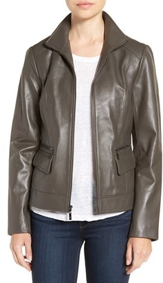 Women's Cole Haan Wing Collar Leather Jacket $500 thestylecure.com