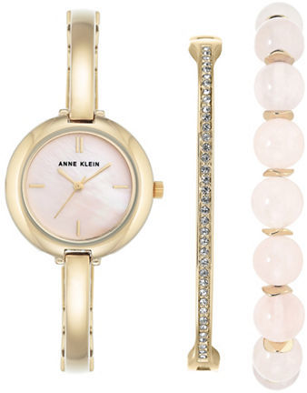 Anne Klein Anne Klein Three-Piece Rose Quartz Bracelet Watch