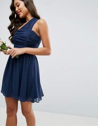 Asos Chiffon Ruched One Shoulder Mini Dress
