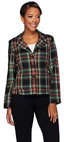 Joan Rivers Classics Collection Joan Rivers Tartan Plaid Blazer withLong Sleeves
