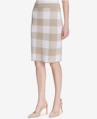 Calvin Klein Plaid Pencil Skirt