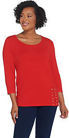 Joan Rivers Classics Collection Joan Rivers Scoop Neck Sweater with Lace UpDetail