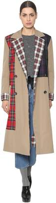Isa Arfen Cotton Canvas & Wool Plaid Trench Coat