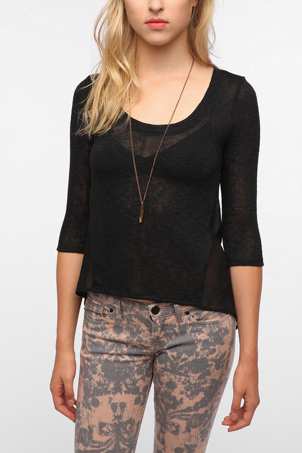 Urban Outfitters Pins and Needles Chiffon Back Sweater Knit Top
