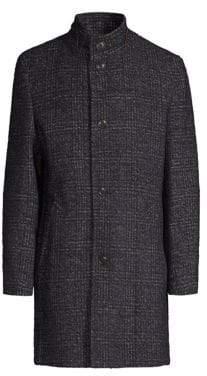 Bugatti Plaid Wool-Blend Coat