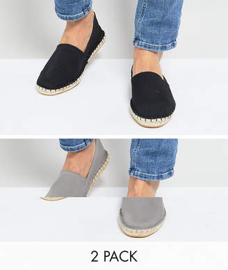 7dd5a6f12737 Asos Design Canvas Espadrilles in Black and Grey 2 Pack SAVE