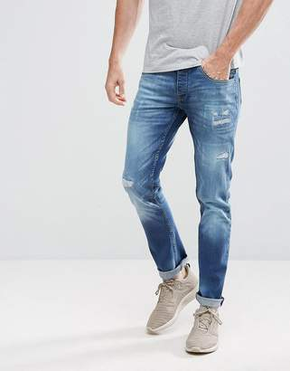 Voi Jeans Tapered Fit Jeans with Distressing