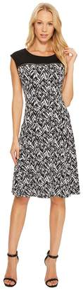 Calvin Klein Sleeveless Print Dress with Zipper Yoke Women's Dress