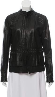 Barneys New York Barney's New York Collarless Leather Jacket