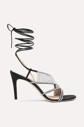 ATTICO Crystal-embellished Faille Sandals - Black