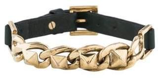 Valentino Rockstud Chain Leather Bracelet