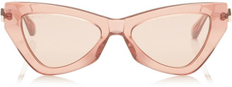 Jimmy Choo DONNA Pink Flash and Silver Cat Eye Sunglasses with Pink Glitter