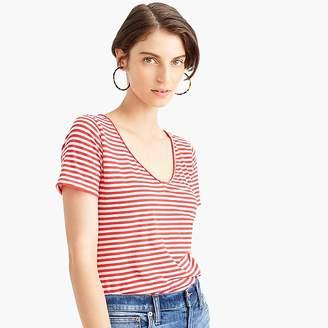 J.Crew Raw-edge V-neck T-shirt in stripes