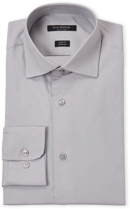Isaac Mizrahi New Pewter Stretch Slim Fit Dress Shirt