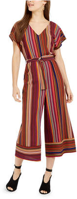 BeBop Juniors' V-Neck Striped Jumpsuit