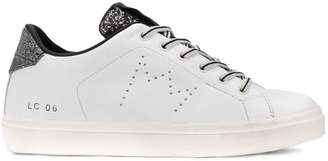 Leather Crown glitter detail sneakers