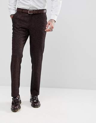 Asos DESIGN Skinny Suit Pants In Wine Flecked Wool Blend