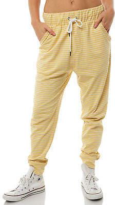 Swell New Women's Native Stripe Lounge Pant Cotton Polyester Elastane Mustard