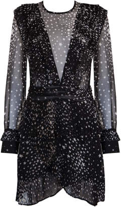 Jovonna London Black Megan Star Print Sheer Dress - UK8 - Black