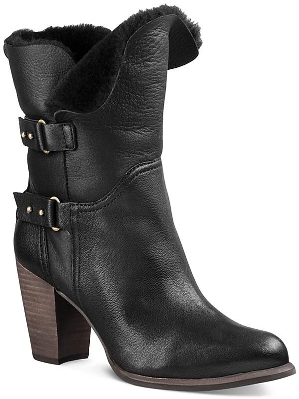UGGUGG® Jayne Leather and Sheepskin Mid Calf Booties