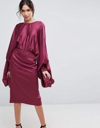 Asos DESIGN Extreme Sleeve Satin Midi Pencil Dress