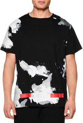 Off-White Splatter-Print Short-Sleeve Graphic T-Shirt $355 thestylecure.com