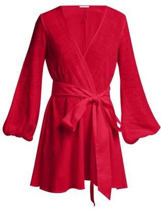 Kalita Gaia Cotton Gauze Wrap Mini Dress - Womens - Dark Red