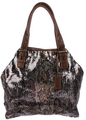 Jimmy Choo Leather-Trimmed Sequin Tote