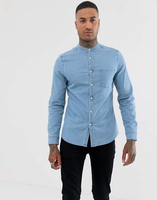 Asos Design DESIGN stretch slim denim shirt in light wash with grandad collar