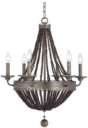 Uttermost Thursby Brass 6-Light Beaded Chandelier