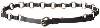 Frye 13mm Leather and Metal Ring Belt on Logo Harness Buckle Women's Belts