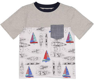 Andy & Evan Vintage Sailboat T-Shirt w/ Chambray Pocket, Size 2-7
