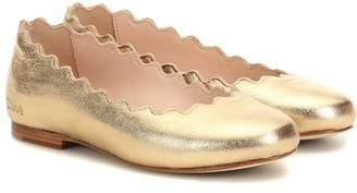Chloé Kids Metallic leather ballet flats