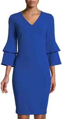 Iconic American Designer Tiered-Sleeve V-Neck Sheath Dress