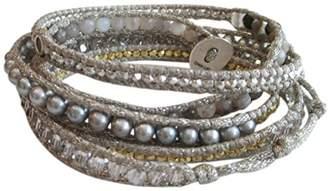 Chan Luu Semi Precious and Freshwater Cultured Pearl Mix On Grey Metallic Silk Wrap Bracelet