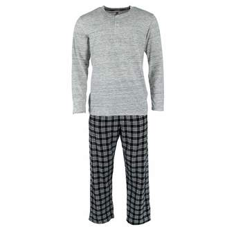 Hanes Mens Henley Crew with Flannel Pant PJ Set (3003B) -Crayon Red -S