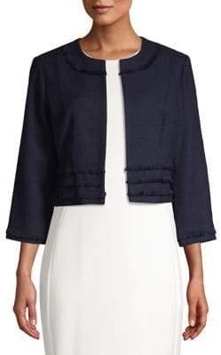 Karl Lagerfeld Paris Frayed Tweed Jacket