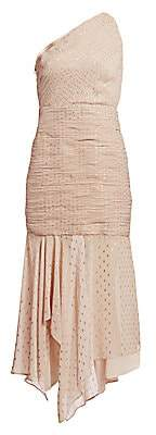 Halston Women's One Shoulder Pleated Metallic Polka Dot Trumpet Dress