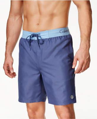 "Calvin Klein Men's Logo Waist Band Swim Trunk 9"" $49.50 thestylecure.com"
