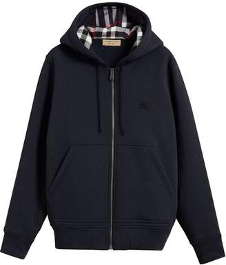 Burberry check detail hooded sweatshirt